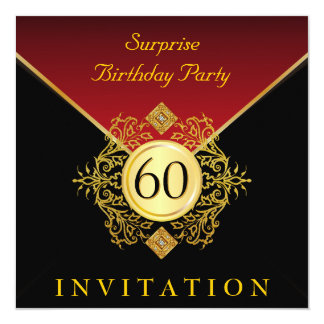 """Fiesta de sorpresa del cumpleaños del rojo real invitación 5.25"""" x 5.25"""""""