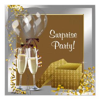 Fiesta de sorpresa del oro de la plata del confeti invitación 13,3 cm x 13,3cm