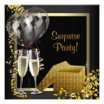Fiesta de sorpresa del oro del negro del confeti d invitaciones personalizada