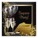 Fiesta de sorpresa del oro del negro del confeti invitaciones personalizada