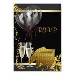 Fiesta de sorpresa del oro del negro del confeti invitación