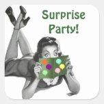 Fiesta de sorpresa retro de la Lectura-tarjeta de Pegatina Cuadradas Personalizadas