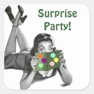 Fiesta de sorpresa retro de la Lectura-tarjeta de Pegatina Cuadrada