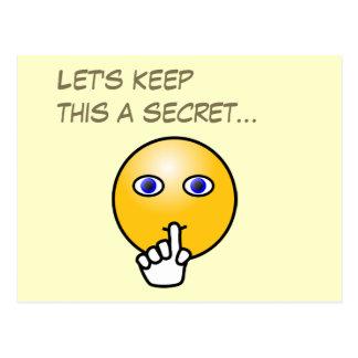 Fiesta de sorpresa secreto del emoticon del silenc postales