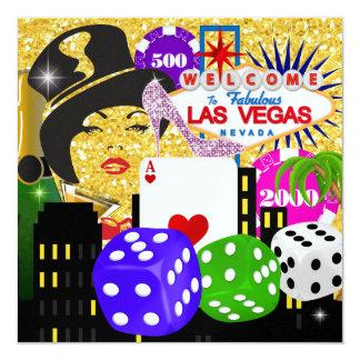 Fiesta de Vegas - casino/póker - SRF Invitación 13,3 Cm X 13,3cm