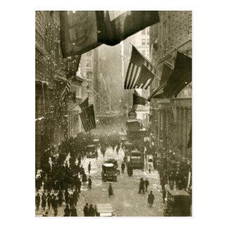 Fiesta de Wall Street, extremo de WW1, 1918 Postal