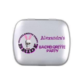 Fiesta del bachelorette del chica de conejito del latas de caramelos