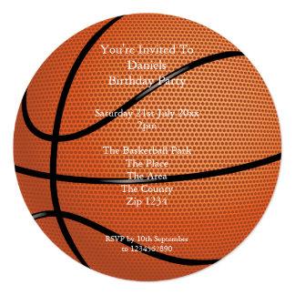 Fiesta del baloncesto invitación 13,3 cm x 13,3cm