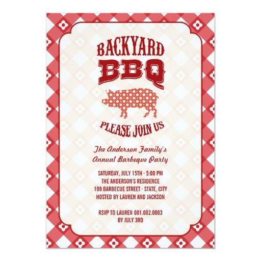 Fiesta del Bbq de la barbacoa del patio trasero de Invitación 12,7 X 17,8 Cm