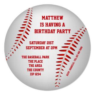 Fiesta del béisbol invitación 13,3 cm x 13,3cm