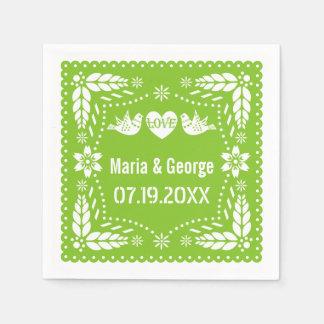 Fiesta del boda de la verde lima de los pájaros servilleta de papel