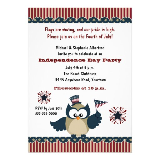 Fiesta del búho de Día de la Independencia Invitacion Personal