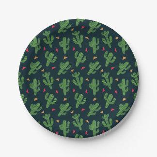 Fiesta del cactus plato de papel de 7 pulgadas
