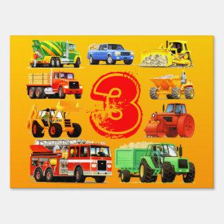 Fiesta del camión de la construcción del niño carteles