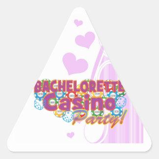 fiesta del casino del bachelorette que casa la pegatina triangular