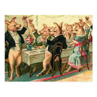 Fiesta del cerdo tarjeta postal
