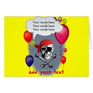Fiesta del cráneo y de la bandera pirata del pirat tarjeta de felicitación