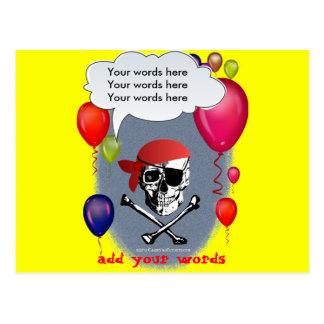Fiesta del cráneo y de la bandera pirata del tarjetas postales
