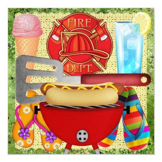 """Fiesta del cuerpo de bomberos - Bbq - SRF Invitación 5.25"""" X 5.25"""""""