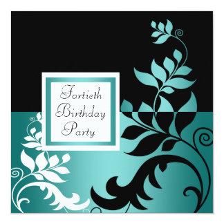 """Fiesta del cumpleaños azul de la mujer negra del invitación 5.25"""" x 5.25"""""""