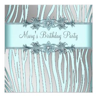 """Fiesta del cumpleaños de la mujer azul de la cebra invitación 5.25"""" x 5.25"""""""