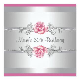"""Fiesta del cumpleaños de la mujer color de rosa invitación 5.25"""" x 5.25"""""""
