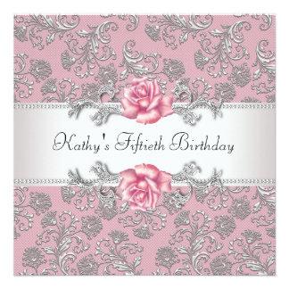 Fiesta del cumpleaños de la mujer color de rosa ro comunicado personalizado