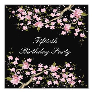 """Fiesta del cumpleaños de la mujer de la flor de invitación 5.25"""" x 5.25"""""""