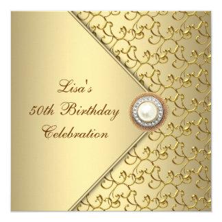 """Fiesta del cumpleaños de la mujer de la perla del invitación 5.25"""" x 5.25"""""""