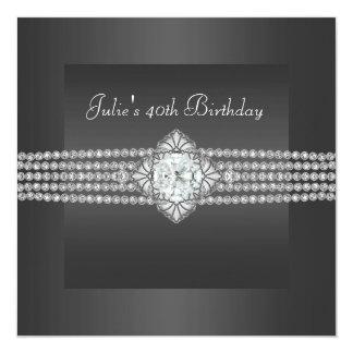 """Fiesta del cumpleaños de la mujer del diamante invitación 5.25"""" x 5.25"""""""