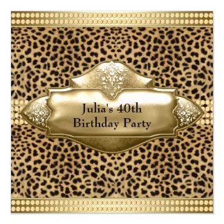 """Fiesta del cumpleaños de la mujer del leopardo del invitación 5.25"""" x 5.25"""""""