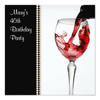 Fiesta del cumpleaños de la mujer del vino rojo anuncio