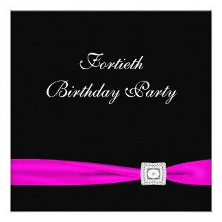 Fiesta del cumpleaños de la mujer fucsia de las ro anuncio