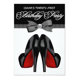 """Fiesta del cumpleaños de la mujer negra roja de la invitación 5"""" x 7"""""""