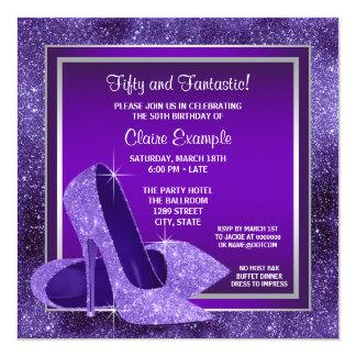 Fiesta del cumpleaños de la mujer púrpura elegante invitaciones personales