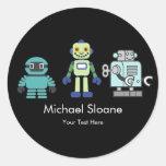 Fiesta del cumpleaños de los niños de los robots y pegatina redonda