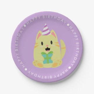 Fiesta del cumpleaños de los niños lindos del gato plato de papel de 7 pulgadas