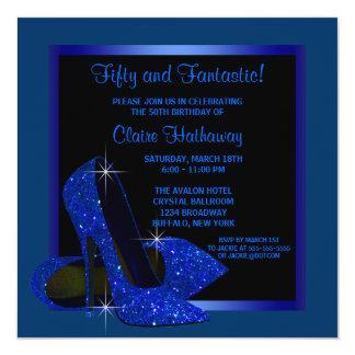 Fiesta del cumpleaños del azul real de la mujer invitación 13,3 cm x 13,3cm