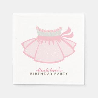 Fiesta del cumpleaños del chica rosado del tutú servilleta desechable