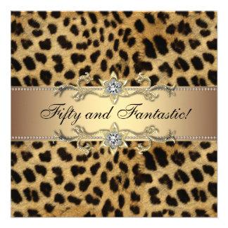 Fiesta del cumpleaños del leopardo de la mujer ele invitacion personalizada