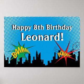 Fiesta del cumpleaños del muchacho cómico del póster