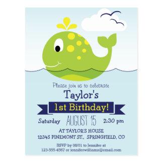 Fiesta del cumpleaños del niño verde de la ballena postal