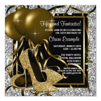Fiesta del cumpleaños del oro de la mujer de plata invitación 13,3 cm x 13,3cm