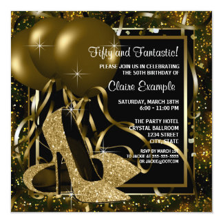 Fiesta del cumpleaños del oro de la mujer negra de invitación 13,3 cm x 13,3cm