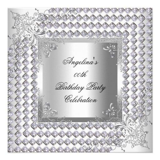 Fiesta del cumpleaños elegante blanca de plata de  anuncio
