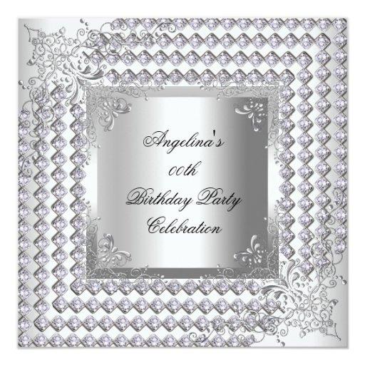 """Fiesta del cumpleaños elegante blanca de plata de invitación 5.25"""" x 5.25"""""""