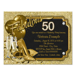 """Fiesta del cumpleaños fabulosa 50 de la mujer invitación 4.25"""" x 5.5"""""""