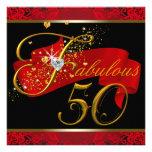 Fiesta del cumpleaños fabulosa roja de la mujer 50 invitaciones personalizada