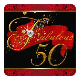 Fiesta del cumpleaños fabulosa roja de la mujer invitación 13,3 cm x 13,3cm