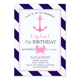 """Fiesta del cumpleaños náutica del chica - ancla + invitación 5"""" x 7"""""""